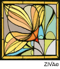 we ve adapted this art nouveau motif to create an elegant al stained glass cushion design called saffron day lily