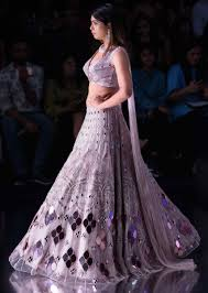 Kalki Lehenga Designs Mauve Pink Lehenga With Mirror Embroidery And Fancy Blouse Designed With Attached Dupatta Online Kalki Fashion