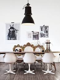 antique industrial pendant lights white. The Eclectic Mix Of This Antique Gold Settee, Modern White Dining Seats And Industrial Black Light Shade Make Room Incredible, From Home Pendant Lights E