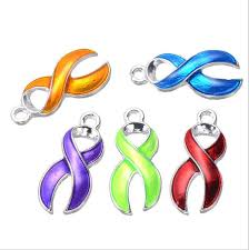 <b>10pcs</b> lot <b>Silver Plated Enamel</b> Hope Ribbon Cancer Charms