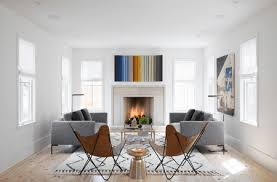modern minipalist living room with white fireplace