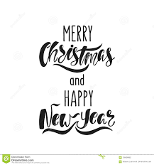 Merry Christmas And Happy New Year Hand Drawn Calligraphy Text