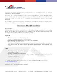 Escrow Officer Job Description Resume - Resume Ideas