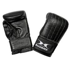 these boxing bag gloves from hammer boxing are made of real chowhide leather which ensures a very nice look and is very strong through this material
