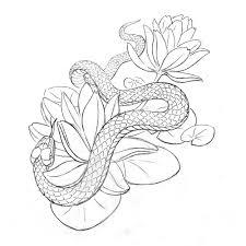 эскиз для рисунка хной змея и лотос альбом рисунки эскизы