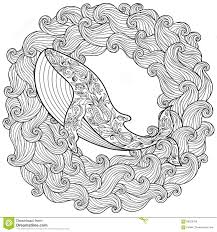 Small Picture Vector Zentangle Whale Print For Adult Coloring Page Hand Drawn