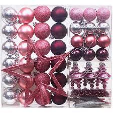 Victors Workshop 60 Tlgweihnachtskugeln Rosa Weihnachtsbaum Schmuck Dekoration Kunststoff Pink Violett Christbaumschmuck Für Weihnachtsdeko