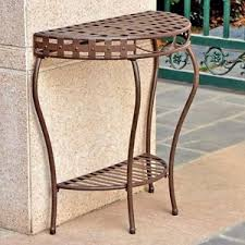 deck wrought iron table. Image Is Loading Half-Moon-Patio-Console-Table-Plant-Stand-Wrought- Deck Wrought Iron Table