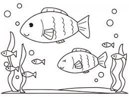 海の中を泳ぐかわいい魚のぬりえ線画イラスト素材 イラスト無料