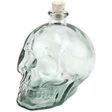 glass skull shaped liquor decanter 1 liter