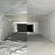 air conditioning cleaning. air duct cleaning before and after shows a dirty clean conditioning o
