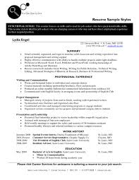 Sample Resume Styles Resume Styles Summary And Professional With