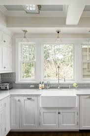Unique Ann Sacks Glass Tile Backsplash Creamy White Kitchen Cabinets With Carrara Marble On Design