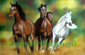 four running horses size 24 x 36 oil on canvas status sold on request 12 000 inr