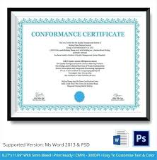 Certificate Of Compliance Template Word Certificate Of Conformance Template Excel