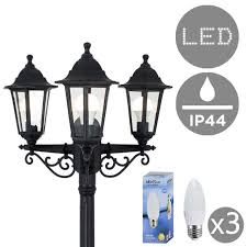 vintage style 3 way led outdoor garden lamp post coach lighting lantern ip44