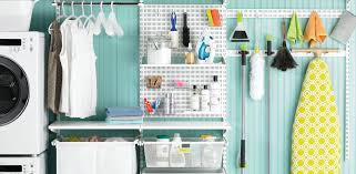 Laundry room office design blue wall Vintage Shop This Space The Container Store Laundry Room Shelving Ideas For Laundry Shelving Laundry Closet