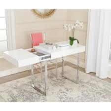chrome office desk. Mesmerizing Office Decor Berkly White And Chrome Desk: Full Size Desk