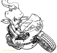 Mario Kart 8 Coloring Pages With Mario Kart Coloring Pages Princess