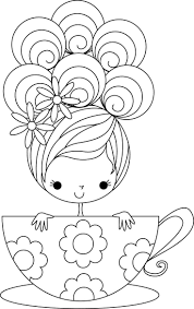 Cup Of Cuteness Embroidery Template