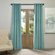 exclusive fabrics furnishings blackout signature aqua mist blue grommet blackout velvet curtain 50 in
