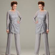 Us 99 0 40 Off Ursula Of Switzerland Two Piece Mother Of The Bride Groom Pant Suits With Illusion Scoop Lace Long Sleeve Chiffon Plus Size In Mother