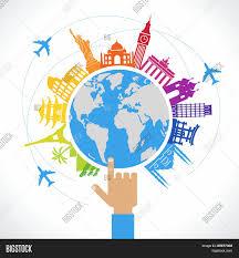 World Map Flat Design Travel Concept Flat Vector Photo Free Trial Bigstock