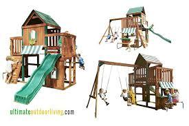 swing and slide playsets n wood hideaway clubhouse playset multi swing and slide playsets grove manor wooden