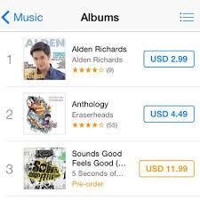 Itunes Philippines Album Chart Alden Richards New Single Tops Itunes Philippine Charts