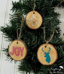vinyl and wood slice ornaments