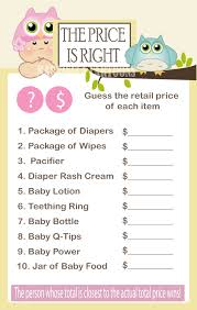 Pink Owl Baby Shower Game- The price Is Right Girl Babyshower Games ...