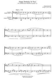 happy trombone sheet music happy birthday to you for trombone duet bass clef duet sheethub