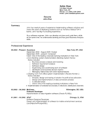 Resume For No Job Experience Tech Sample With Employment