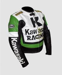 kawasaki green racing swift biker leather jacket
