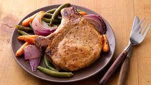 oven roasted pork chops and vegetables