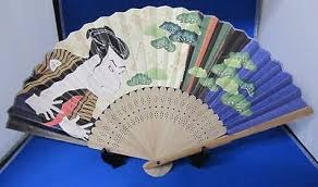 Japanese Fan Display Stand FOLDING FAN Japanese SENSU Ukiyoe Hokusai Design Ukiyoe With 34