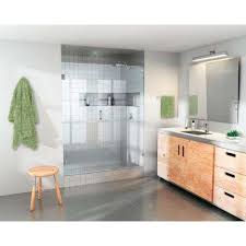 glass warehouse 58 5 in x 78 in frameless hinged glass panel shower door with