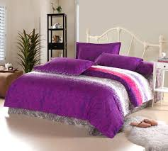 elegant design kids twins bed ideas featuring white wrought iron bed frames with headboard and white purple grey colors covered bedding sheets