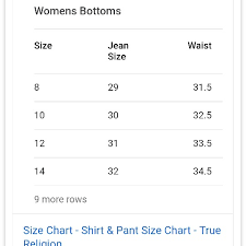 Womens True Religion Size