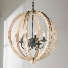 image of wood globe chandelier round