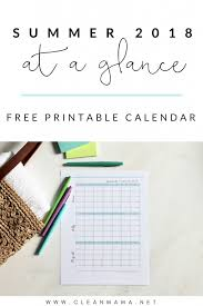 Free Printable Summer 2018 Calendar Clean Mama