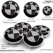 7pcs BMW Black and White Carbon Fiber Emblem ... - Amazon.com