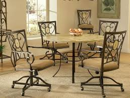 image of metal chairs for dining table with casters