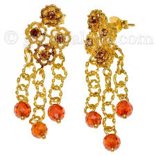 gold earrings with stones 21k