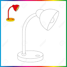 Table Lamp Connect The Dots And Coloring Page Worksheet Game