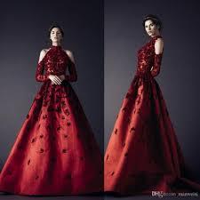 Rami Kadi 2017 Red Evening Dresses High Neckline Long Sleeve