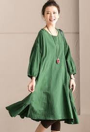 <b>Green</b> Korean <b>Style</b> Cotton Linen Falbala Bat Sleeve Round Neck ...