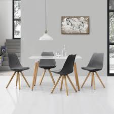 Encasa Esstisch Mit 4 Stühlen Weißgrau 120x70cm Tisch Stühle