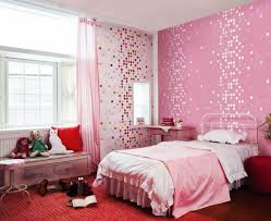 Small Pink and White Themes Design Room for Teenage Girls with Beautiful  Rounded Shaped Pattern Wall