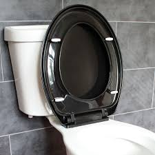 black soft toilet seat. bathroom soft close black oval toilet seat | adjustable top bottom fixing hinges ecospa® t
